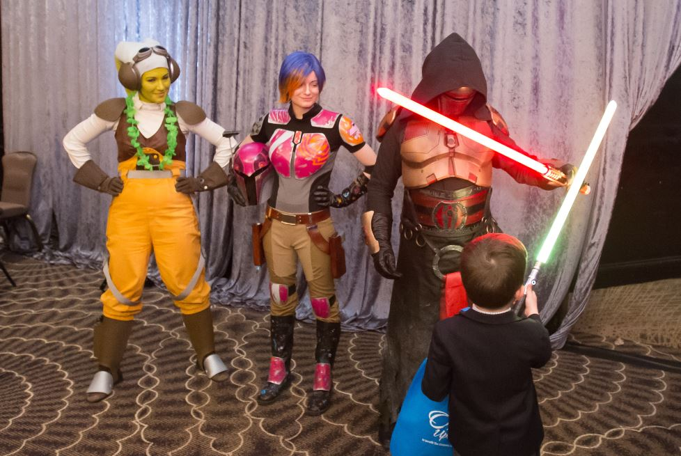 Star Wars characters interacting with children at Once Upon a Time