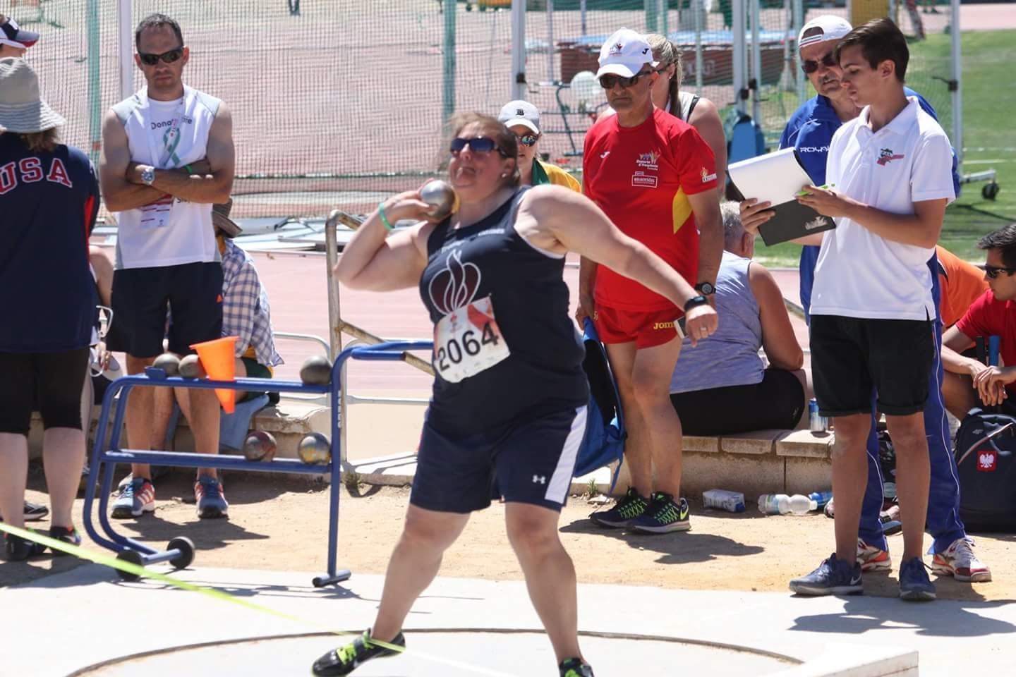 Barb Sheble competing in shot put during Transplant Games