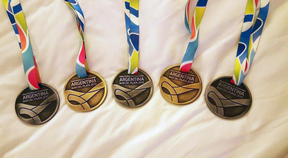 Barb Sheble's medals from competing in the Transplant games