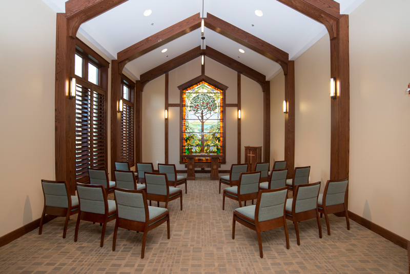 The indoor chapel at Saint Luke's Hospice House