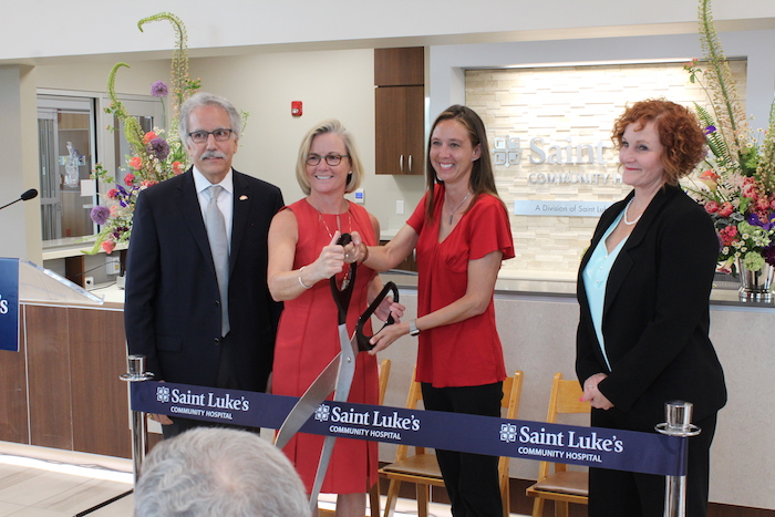 Bob Bonney, Julie Quirin, Michelle Distler, and Teresa Collins at the Saint Luke's Community Hospital ribbon cutting in Shawnee.