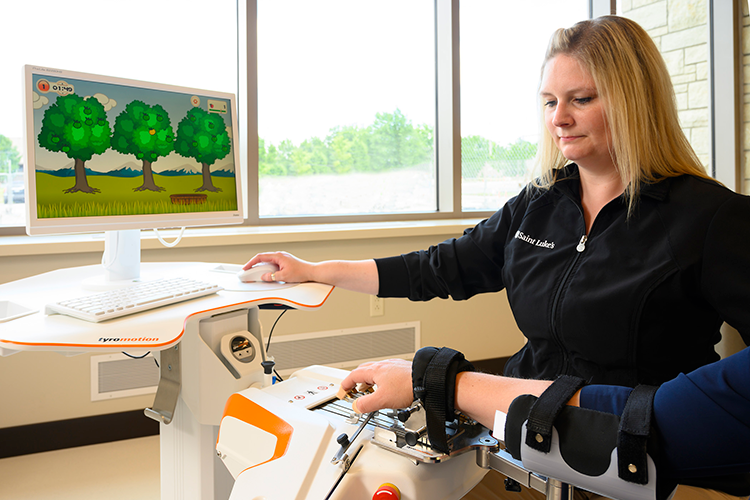 Tyromotion Amadeo®: Videogaming provides the mental stimulation needed to use this robotic hand/arm, which improves small-motor strength and skills.