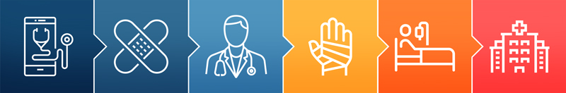 Icons representing various care options