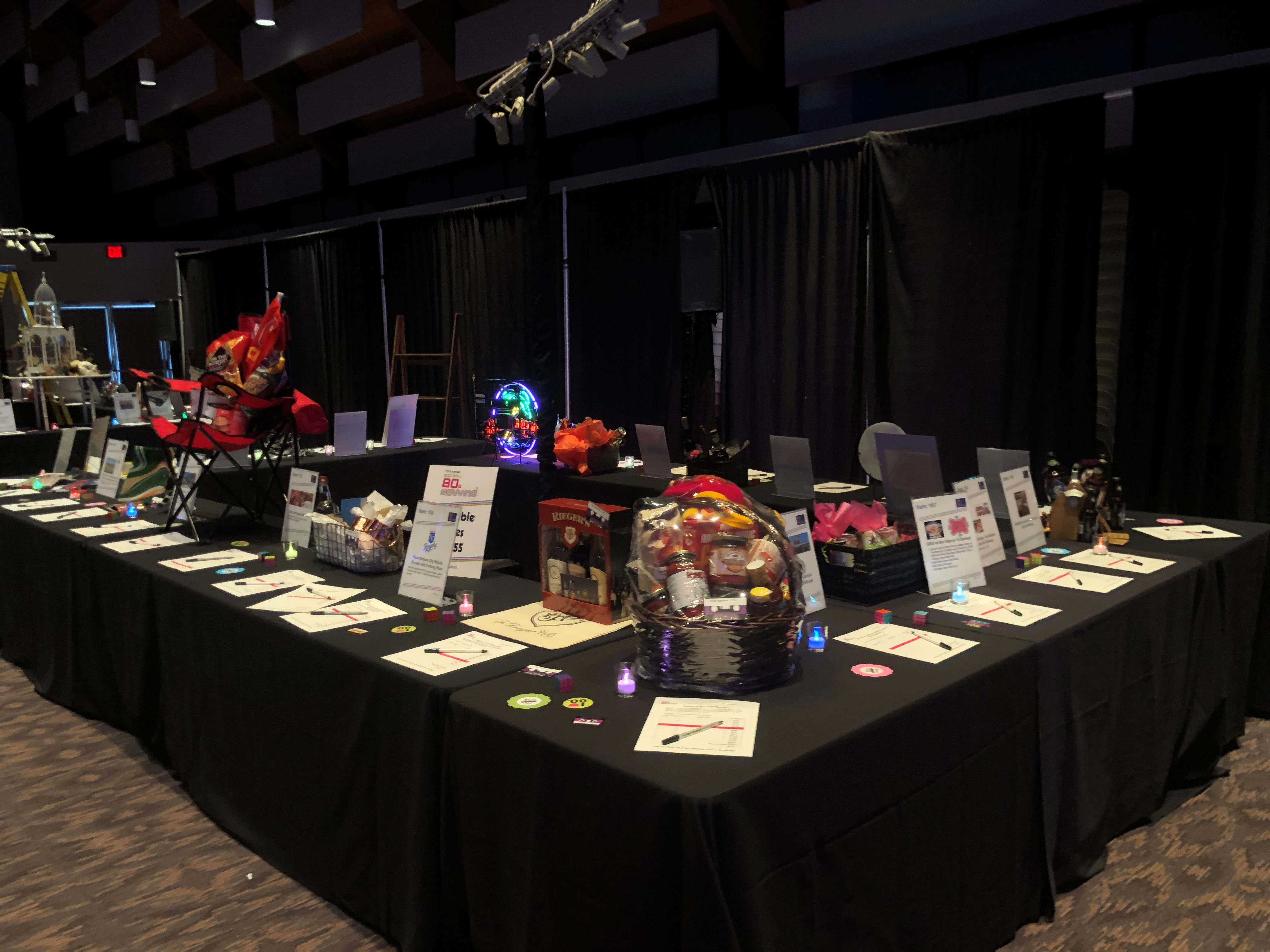 Silent auction items at Boo Ball
