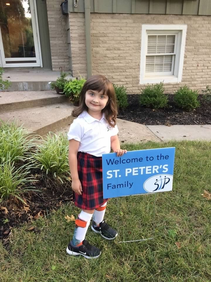 Amelia's first day of kindergarten in August 2018.  She loves to read and do science experiments.