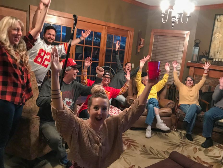 Pat Carey with his family celebrating the Chiefs Super Bowl win