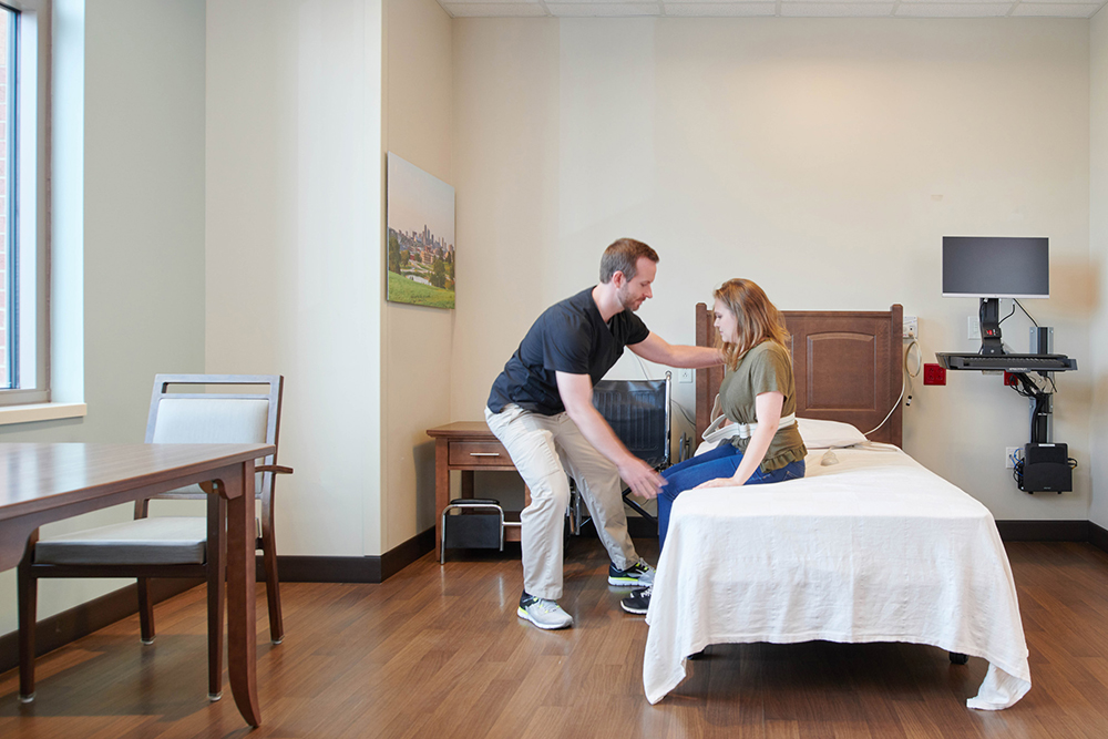 Home-like setting: The Rehab Institute is designed to help patients practice functioning in real-world environments.
