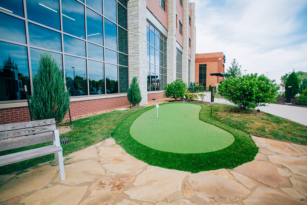 Recreational therapy: The therapy garden also features a putting green.