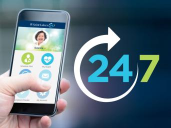 A smart phone using Saint Luke's telehealth app, 24/7