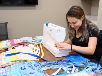 Cheri Rich sewing drain bags for mastectomy patients
