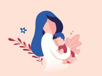 graphic of a mom holding a baby