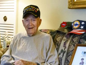 Dale Cooksey wearing his World War II Veteran hat.