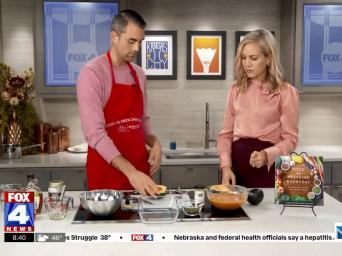 FOX4 News. Lucas Schubert making Winter Squash Soup with Acorn Squash Bowls with Abby Eden on the FOX4 morning show.