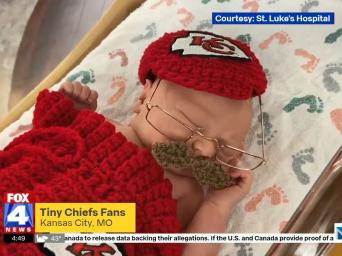 FOX4 News: Tiny Chiefs fans, Kansas City, MO - Courtesy Saint Luke's Hospital - newborn baby dressed as Chiefs head coach Andy Reid