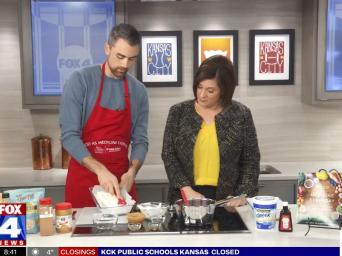 FOX 4 News. Lucas Schubert and Kim Byrnes making frozen yogurt breakfast bars on FOX4.