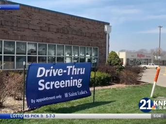 21 KNPN St. Joseph. Courtesy Saint Luke's. Photo of drive-thru screening sign.