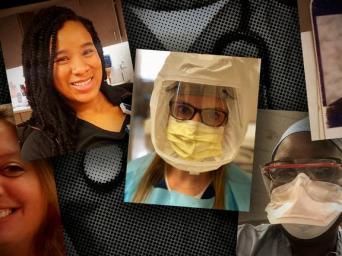 collage of five nurses, two wearing face masks