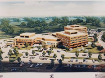 Saint Luke's South campus rendering. Sun Newspaper Collection, Johnson County Museum.
