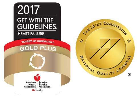 The American Heart Association Get with the Guidelines and The Joint Commission logos