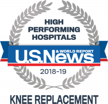 2018-19 US News & World Report - High Performing Hospitals in Knee Replacement badge