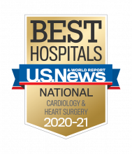 An image of a U.S. News Best Hospitals badge for 2020-2021 Cardiology and Heart Surgery